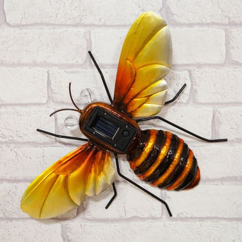 Hand Crafted Metal Honey Bee Garden Ornament With Solar Powered Lights
